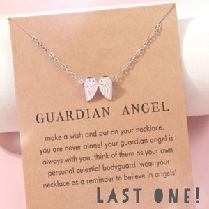 GABRIEL Angel Wings Charm Silver Tone Necklace